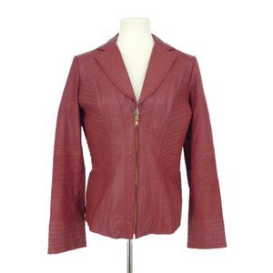 Shape FX Wine Red Ribbed Leather Jacket